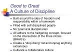 good to great a culture of discipline