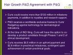 hair growth r d agreement with p g