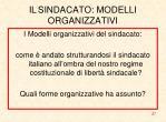 il sindacato modelli organizzativi