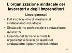 l organizzazione sindacale dei lavoratori e degli imprenditori