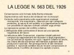 la legge n 563 del 1926