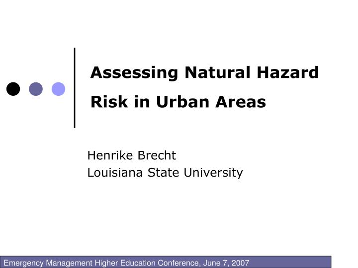 assessing natural hazard risk in urban areas n.