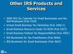 other irs products and services