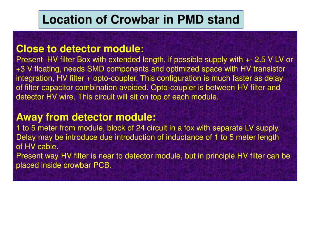 Location of Crowbar in PMD stand