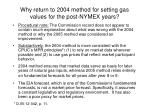 why return to 2004 method for setting gas values for the post nymex years