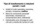 tipo di insediamento e relazioni sociali i ruoli