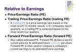 relative to earnings