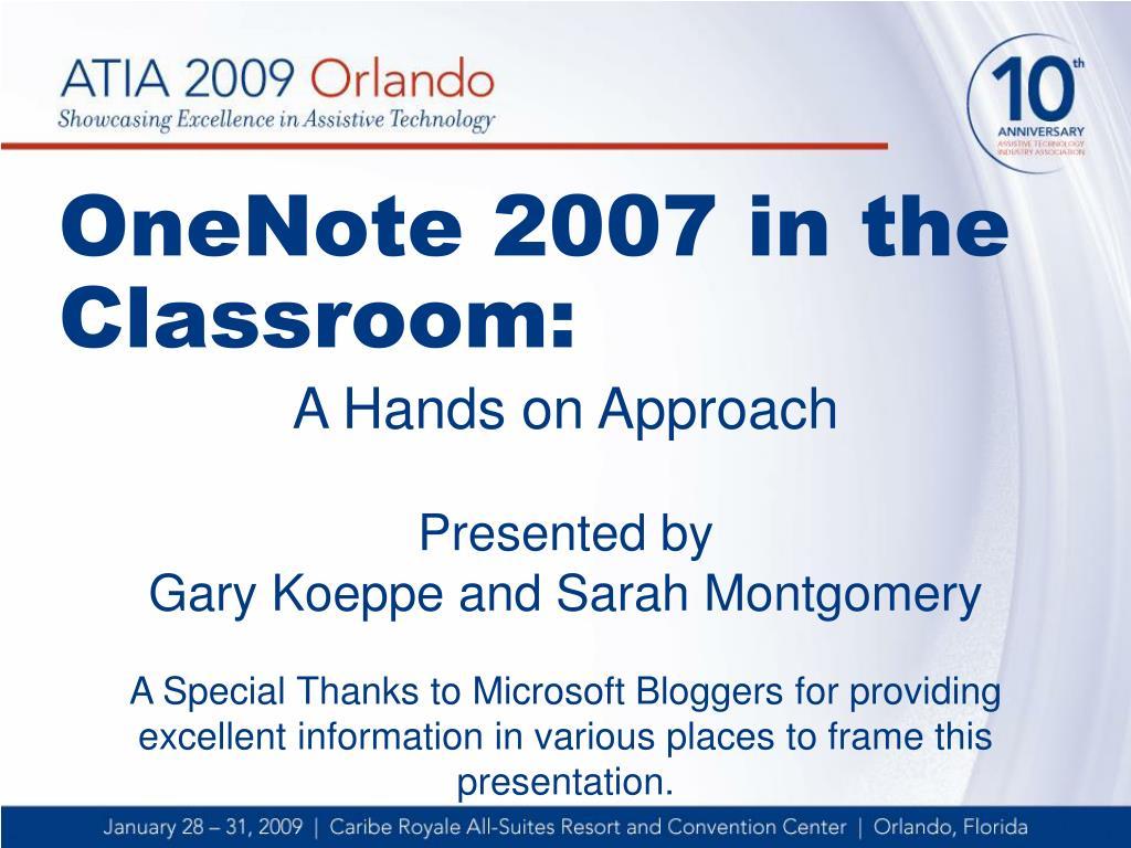 onenote 2007 in the classroom l.