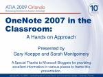 onenote 2007 in the classroom