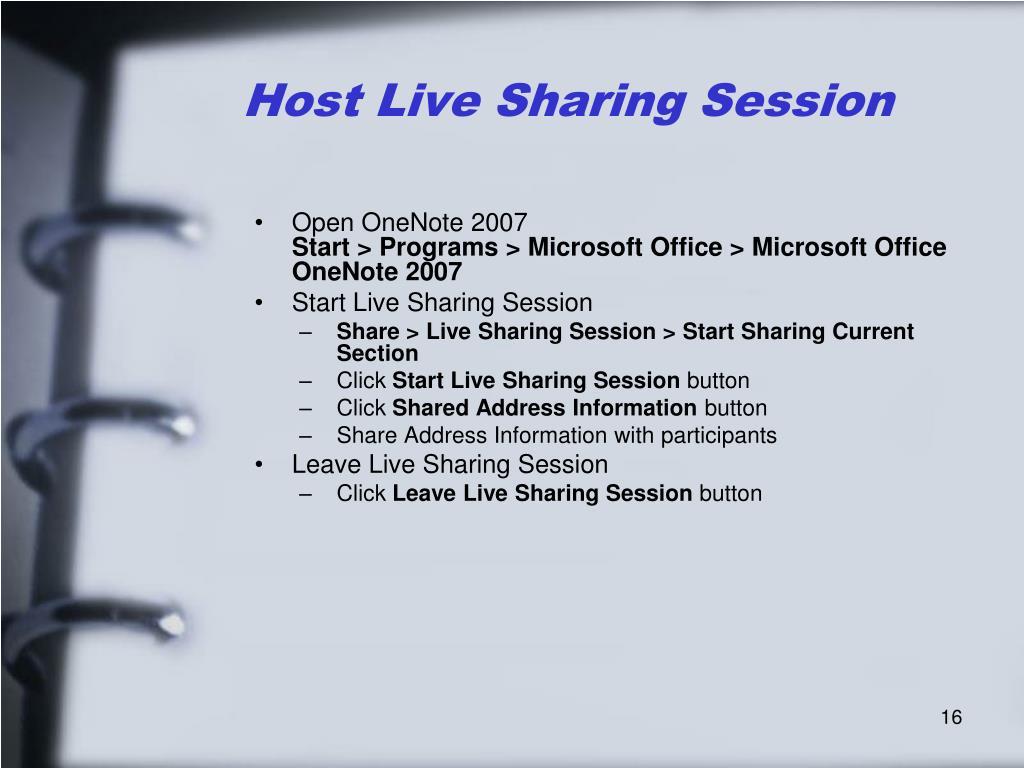 Host Live Sharing Session