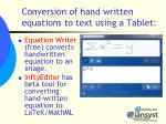 conversion of hand written equations to text using a tablet