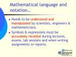 mathematical language and notation