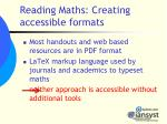 reading maths creating accessible formats