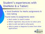 student s experiences with onenote a tablet