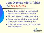 using onenote with a tablet pc key benefits