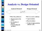 analysis vs design oriented