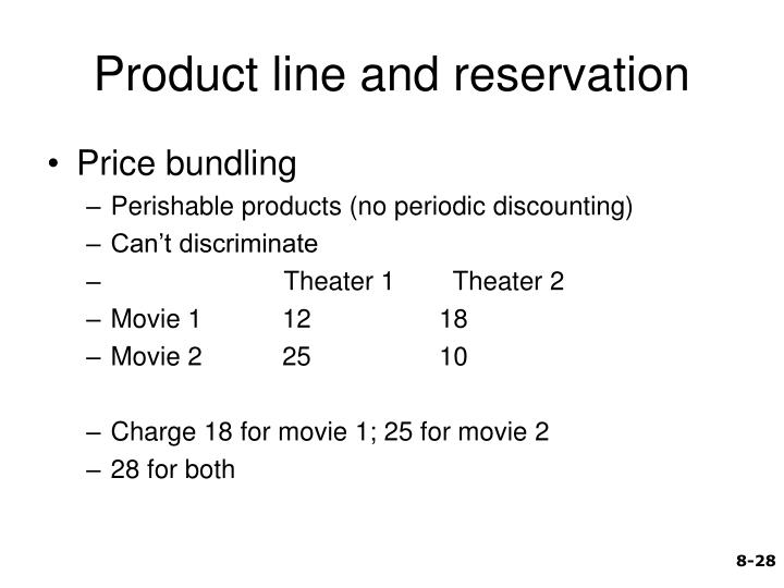 Product line and reservation
