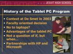 history of the tablet pc program