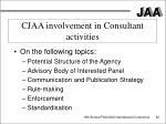 cjaa involvement in consultant activities