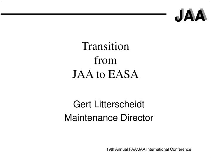 transition from jaa to easa n.