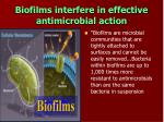 biofilms interfere in effective antimicrobial action
