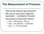 the measurement of pressure