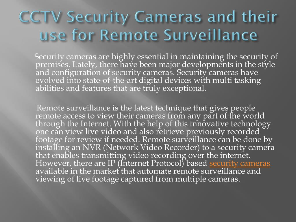 cctv security cameras and their use for remote surveillance l.