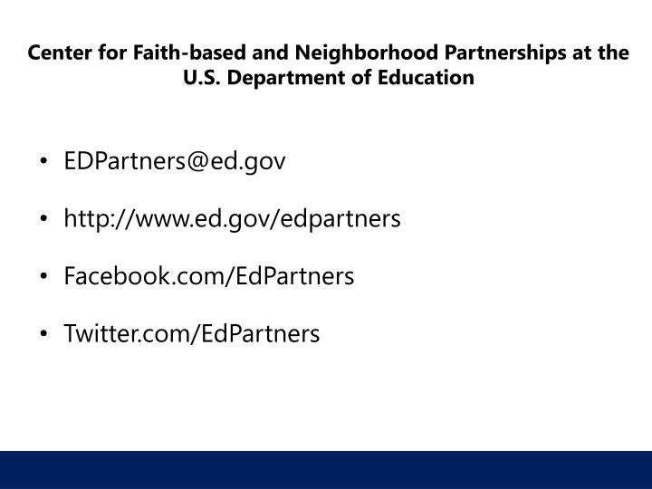 Center for Faith-based and Neighborhood Partnerships at the