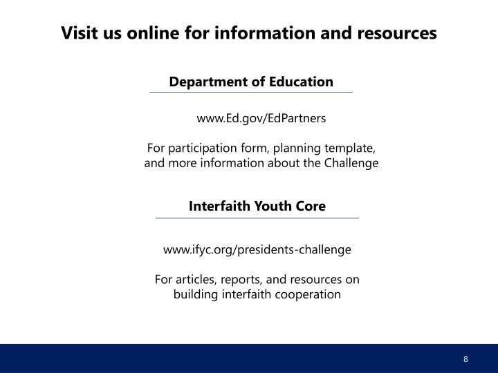 Visit us online for information and resources