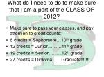 what do i need to do to make sure that i am a part of the class of 2012