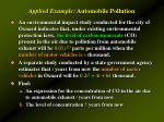 applied example automobile pollution