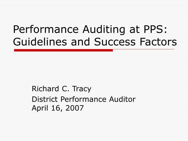performance auditing at pps guidelines and success factors n.