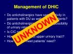 management of dhic