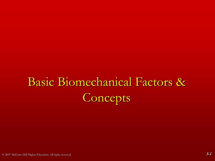 basic biomechanical factors concepts n.