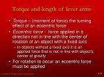 torque and length of lever arms
