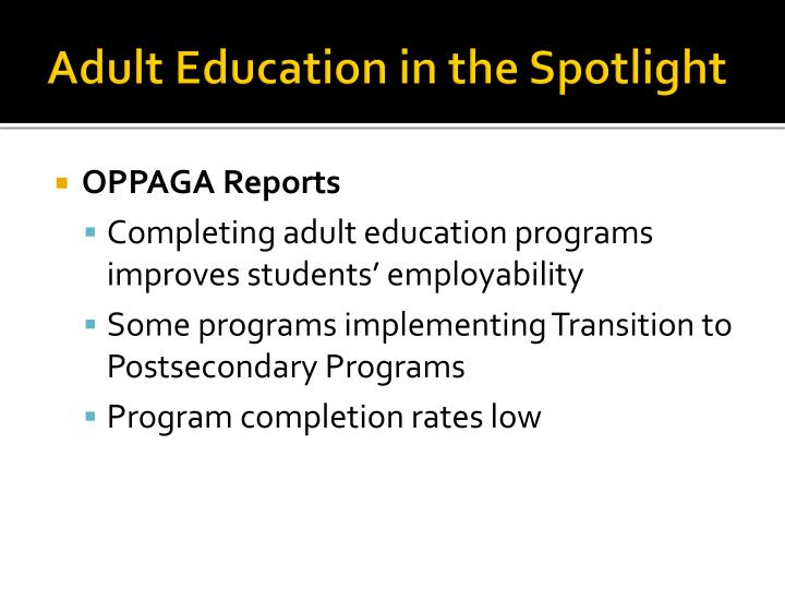 Adult Education in the Spotlight