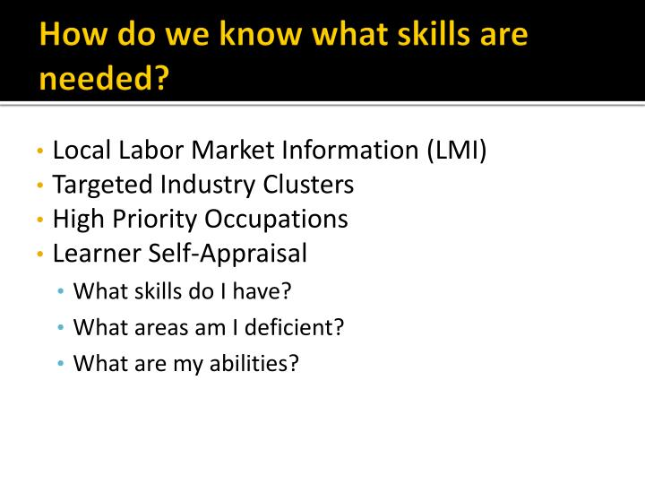 How do we know what skills are needed?