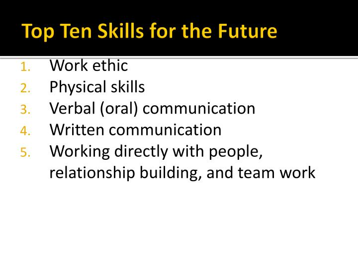 Top Ten Skills for the Future