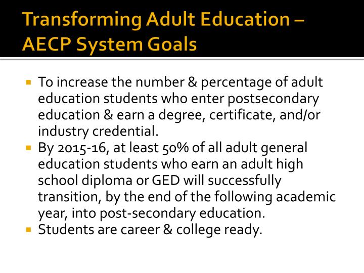 Transforming Adult Education – AECP System Goals