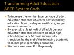 transforming adult education aecp system goals