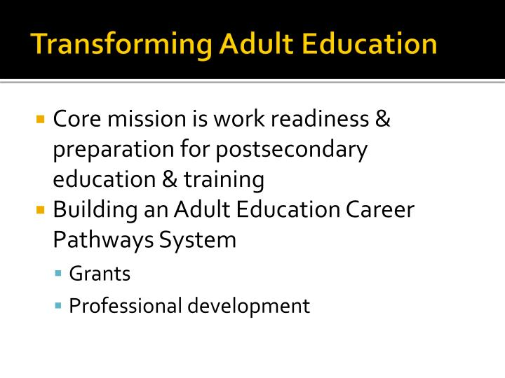 Transforming Adult Education