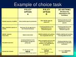 example of choice task