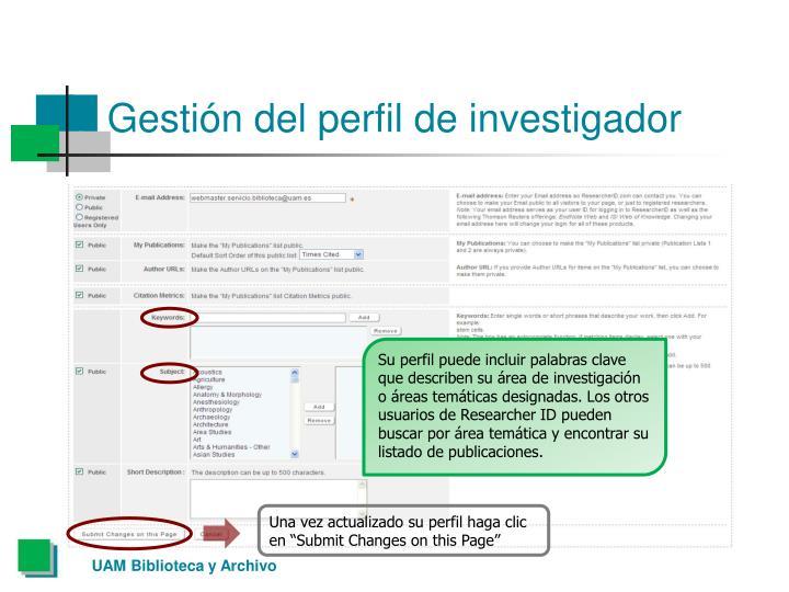 Gestión del perfil de investigador