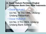 a dasar hukum penilaian tingkat kesehatan bank oleh bank indonesia