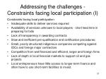 addressing the challenges constraints facing local participation i