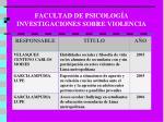 facultad de psicolog a investigaciones sobre violencia