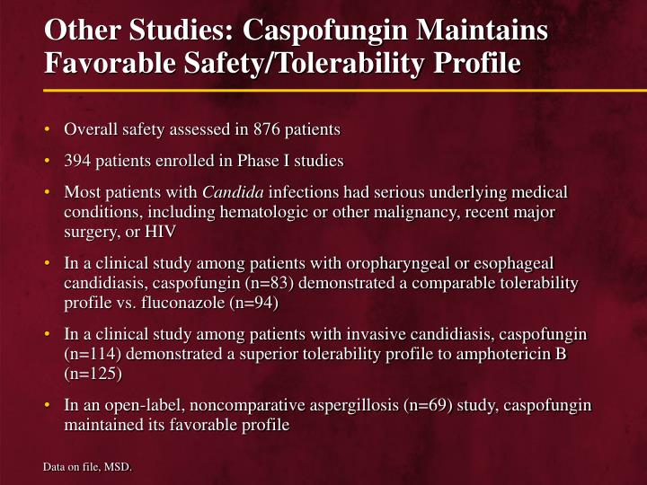 Other Studies: Caspofungin Maintains Favorable Safety/Tolerability Profile