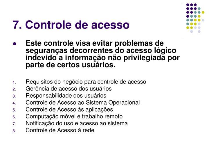 7. Controle de acesso