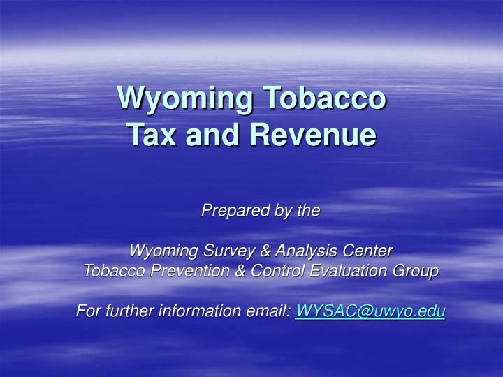 wyoming tobacco tax and revenue n.