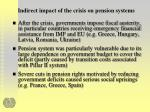 indirect impact of the crisis on pension systems